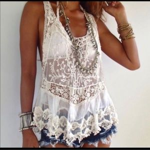 Bohemian Lace Tank/Swim Cover Up Medium